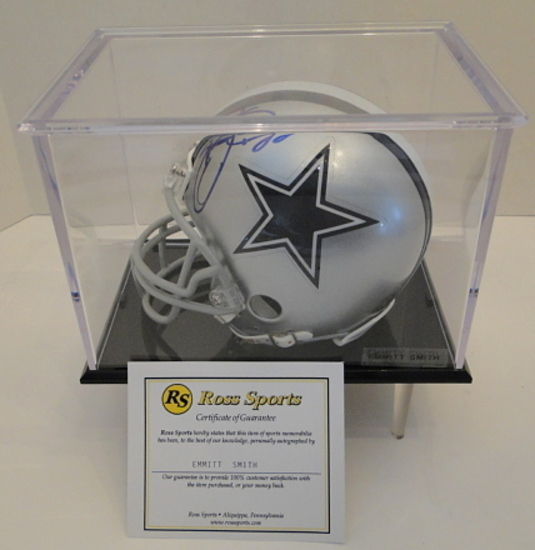 Emmitt Smith Signed Dallas Mini Helmet With Display Case, COA