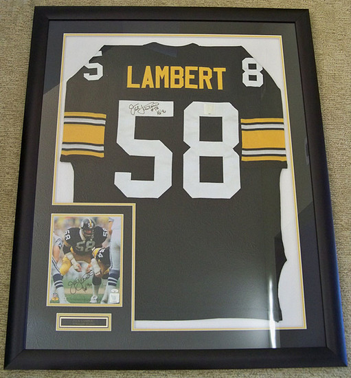Framed Jack Lambert #58 Pittsburgh Steelers Autographed Black Jersey w/ Signed 8 x 10 Photo, COA