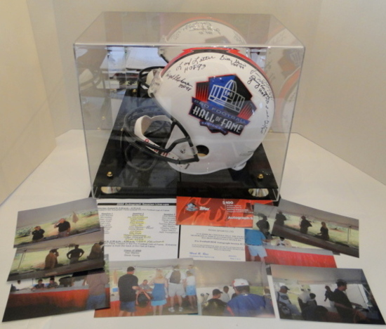 Full Size HOF Helmet Signed By 13 Famers, Ticket, Line Up Sheet Session 2, Photos, COA, Display Case