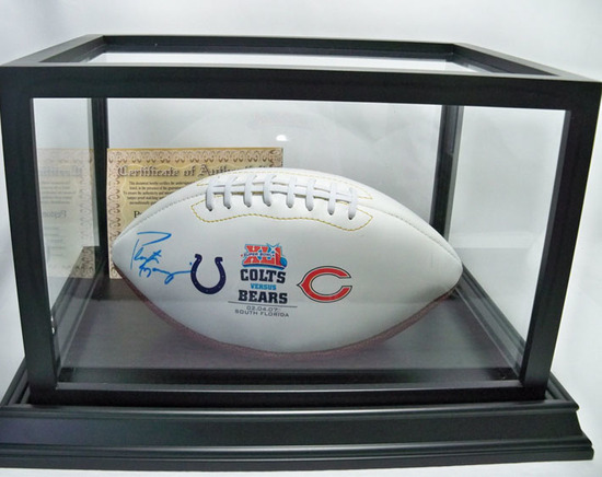 Peyton Manning Autographed Super Bowl XLI Football, Colts vs Bears, COA