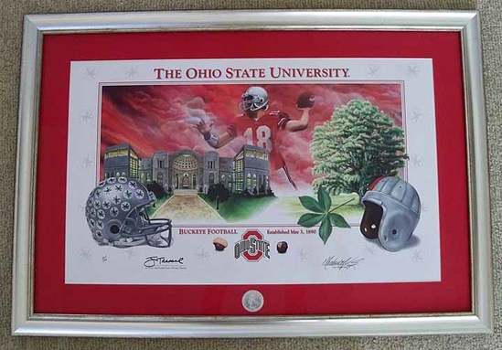 "Limited Edition Signed Jim Tressel and Numbered Lithograph ""A Celebration of Buckeye Football"", COA"