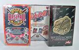 Three Boxes of Baseball Wax Packs in Orig. Shrink Sealed Pkgs., Upper Deck, Leaf Studio