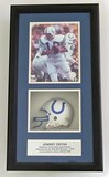 Johnny Unitas #19 Baltimore Colts HOF 1979 Autographed 8 x 10 Photo with Mini Helmet,  Framed, COA