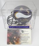 Purple People Eaters Signed Vikings Mini Helmet With Display Case & COA