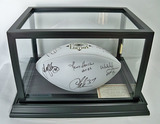 Pro Football HOF Autographed White Panel Football, 8 Signatures, Best of Yesterday & Today, COA