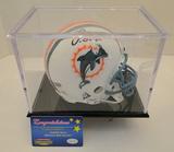 Junior Seau Signed Dolphins Mini Helmet With Display Case, COA