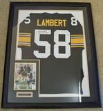 Framed Jack Lambert #58 Pittsburgh Steelers Autographed Black Jersey w/ Signed 8 x 10 Photo, COA