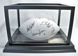 Autographed Pro Football HOF White Panel Football, 9 Signatures, Best of Yesterday & Today, COA