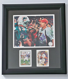 Framed 8 x 10 Photo Autographed by John Elway #7, Co-Signed by Dan Marino #13, Trading Cards, COA