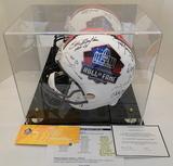 Full Size HOF Helmet, Signed By 11 HOFamers, Ticket, Line Up Sheet Session 3, COA, Display Case
