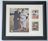Autographed Yankees Yogi Berra Posed with Babe Ruth 8 x 10 Photograph and Two Trading Cards, COA