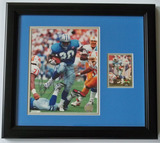 Autographed Barry Sanders 8 x 10 Photo W/ Topps Stadium Club Playing Card, COA