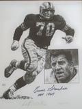 Ernie Stautner #70 Pittsburgh Steelers HOF 1969 Autographed Limited Edition Lithograph, COA