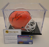 Jim Brown Signed Cleveland Browns Mini Helmet With Display Case, COA's & Snapshot