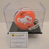 John Elway Signed Orange Denver Mini Helmet With Display Case, COA