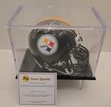 Terry Bradshaw Signed Steelers Mini Helmet With Display Case, COA
