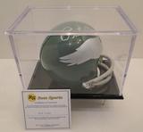 Pete Pihos Signed Eagles Mini Helmet With Display Case, COA