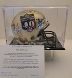 HOF 40th Anniversary Mini Helmet Signed By 10 with Display Case and COA