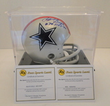Mel Renfro And Rayfield Wright Signed Dallas Mini Helmet with Display Case, COA's & Snapshots