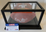 Billy Shaw HOF 99 Signed NFL Full Size Football With PSA Sticker, COA and Display Case