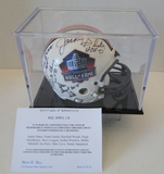 HOF Mini Helmet Signed By 10 Hall of Famers With Display Case and COA
