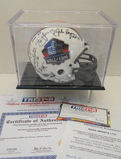 HOF Mini Helmet Signed By 9 Hall of Famers, Tristar Hologram, COA's and Display Case