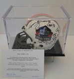 HOF Mini Helmet Signed By 7 Hall of Famers, COA and Display Case
