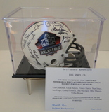 HOF Mini Helmet Signed By 9 Hall of Famers, COA and Display Case
