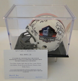 HOF Mini Helmet Signed By 8 Hall of Famers, COA and Display Case