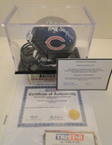Hall of Famers, G. Sayers & D. Hampton Signed Chicago Mini Helmet With Holo, COA's and Display Case