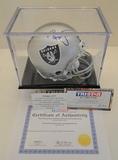 Ronnie Lott Signed Raiders Mini Helmet With Hologram, COA and Display Case
