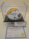 Charlie Joiner Signed Chargers Mini Helmet With Hologram, COA and Display Case