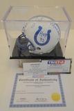John Mackey Signed Colts Mini Helmet With Hologram, COA and Display Case