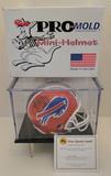 Jim Kelly Signed Bills Mini Helmet With COA, Display Case and Box