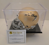 Lou Holtz Signed Notre Dame Mini Helmet With COA, Display Case and Box