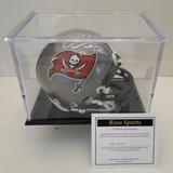 Mike Alstott Signed Buccaneers Mini Helmet With COA and Display Case