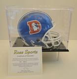 Tony Dorsett Signed Blue Denver Mini Helmet With COA and Display Cas