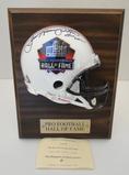 Dan Hampton Signed HOF Mini Helmet Plaque With HOF Signing Event Ticket