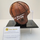 Ernie Stautner Signed Leather Mini Helmet With COA and Display Case