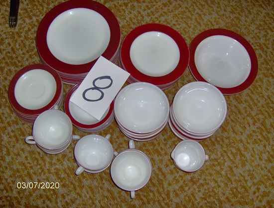 Red rim plates and saucers for 8