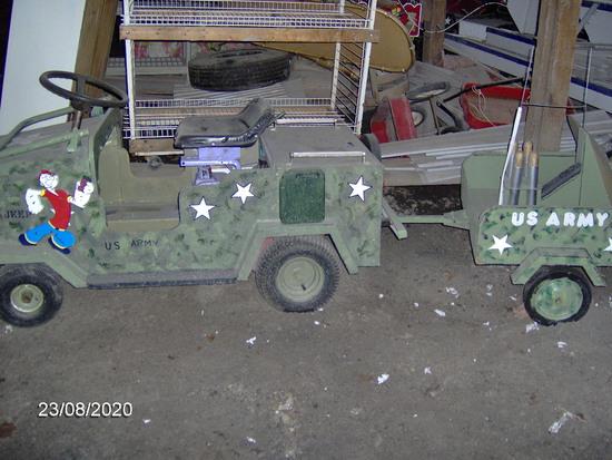Home built jeep & anti-aircraft tailer