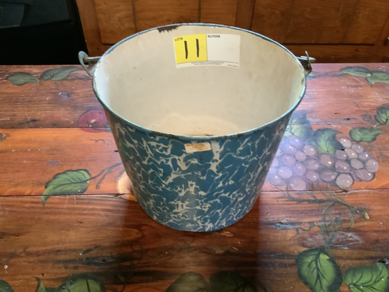 Blue and White Enamelware Wire Bucket