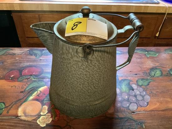 Gray Tiger Graniteware Campfire Coffee Pot