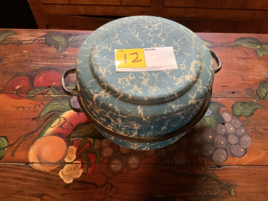 Blue and White Enamelware Cooker