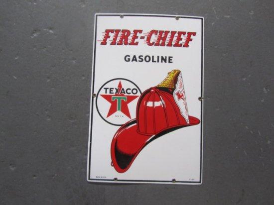 TEXACO FIRECHIEF GAS PUMP PLATE1952 SSP NOS, 12X18