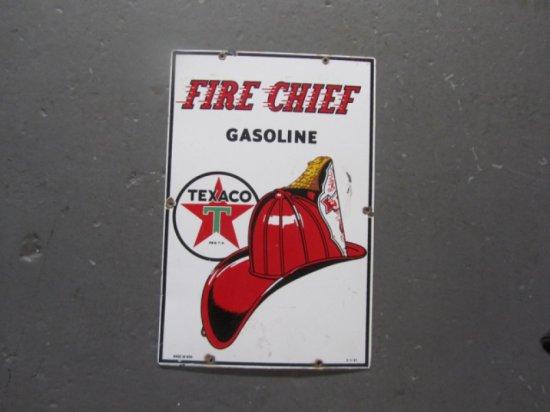 TEXACO FIRE CHIEF PUMP PLATE 1957 SSP, 12X18