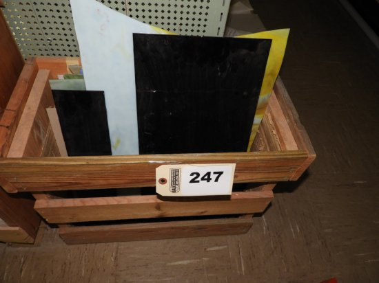 Wooden box w/ stained glass pieces