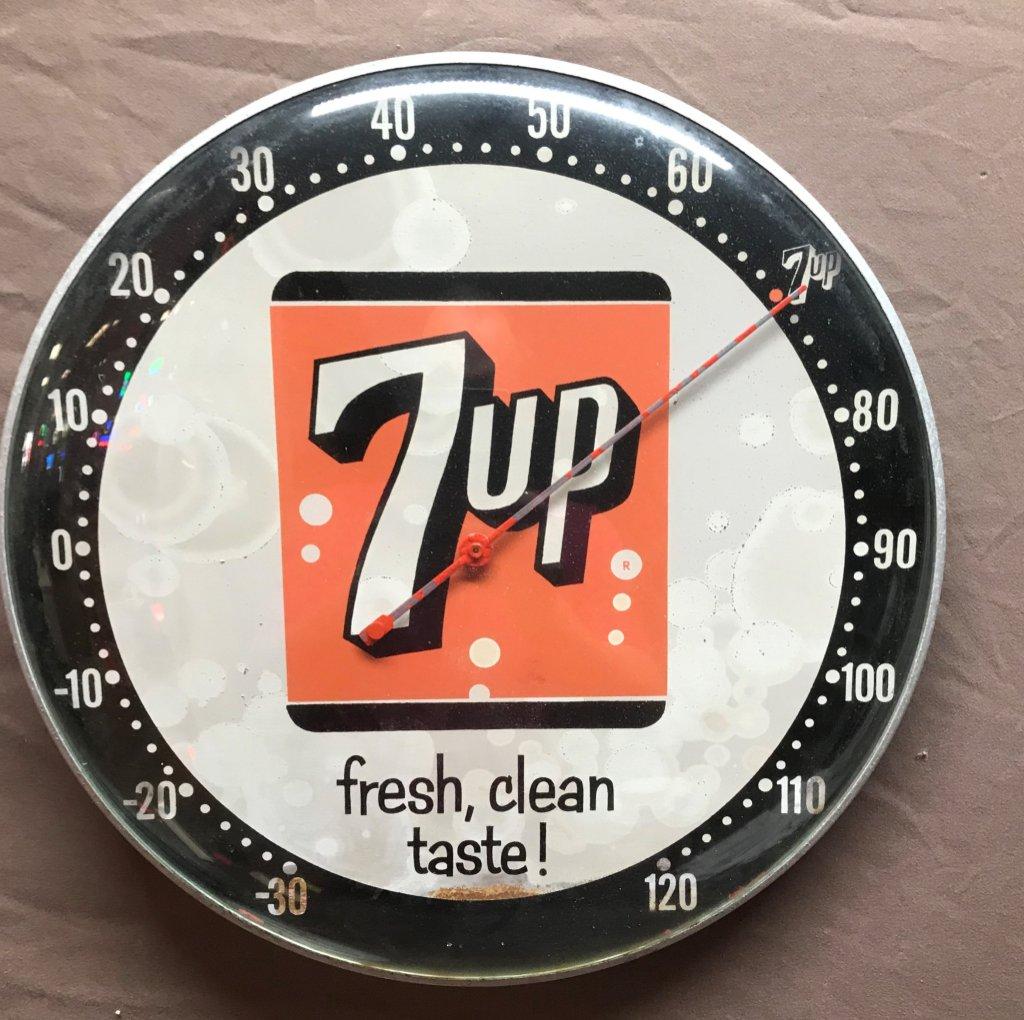 "7-Up Round Thermometer 12"" Dia."