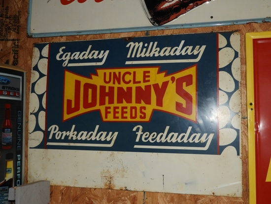 """Uncle Johnny's Feeds SST, 30""""X21"""""""