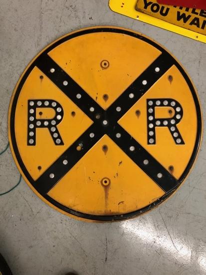 """Railroad sign w/ reflectors, 30"""""""